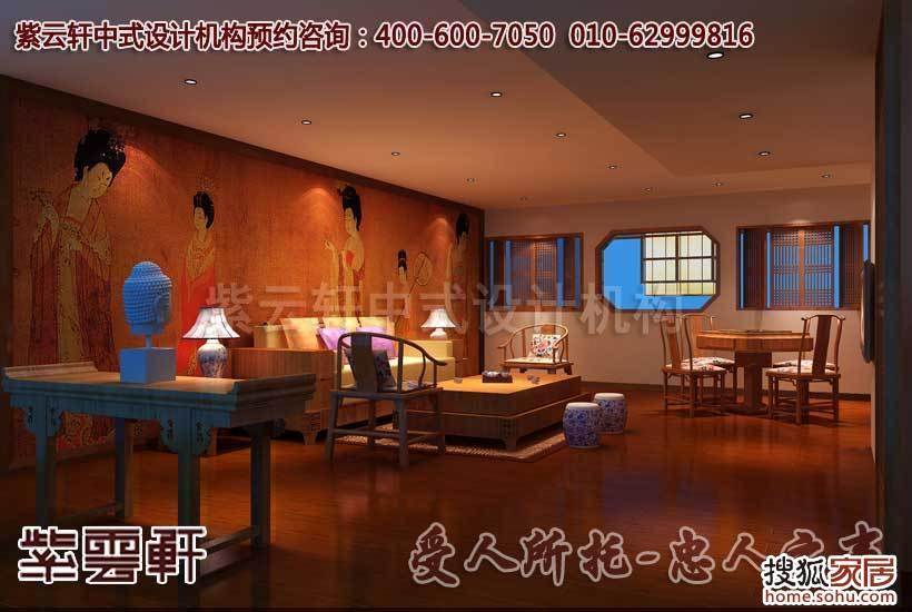 中式茶楼洽谈区设计装修效果图-公装设计之中,中式茶楼设计装修对高清图片