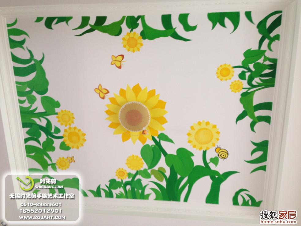 天花板手绘向日葵