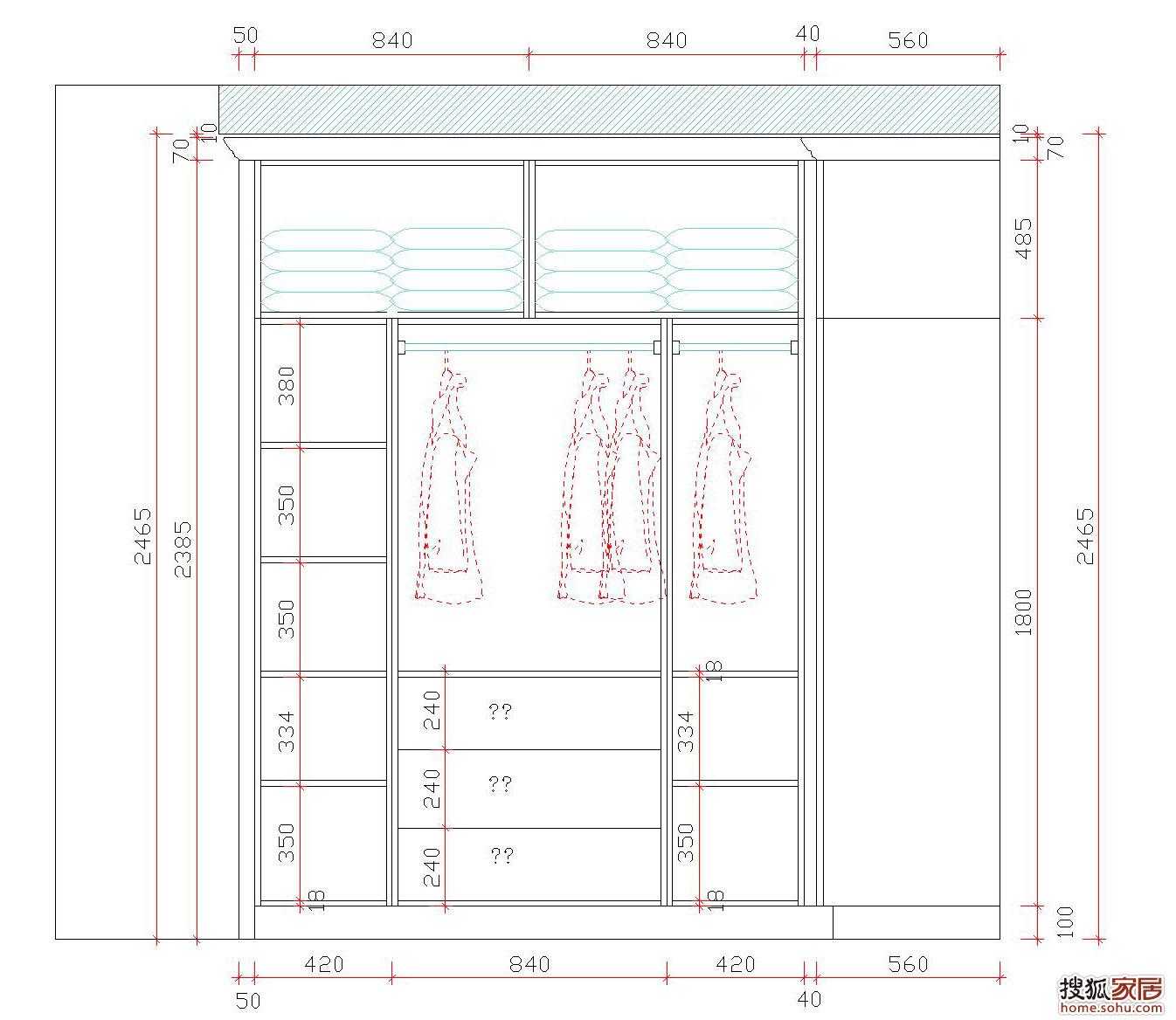 墙壁衣柜的设计图展示