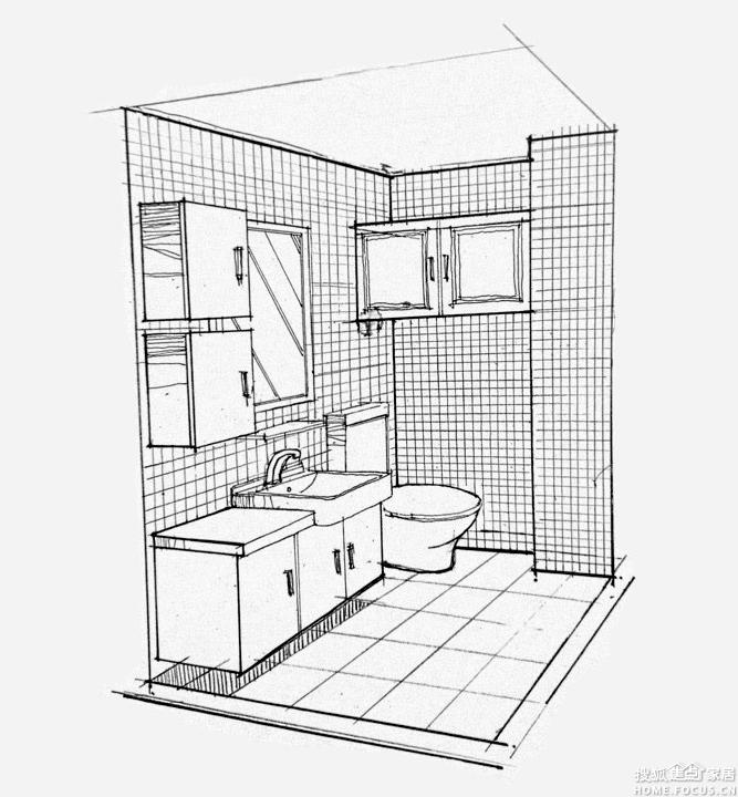 卫生间手绘图