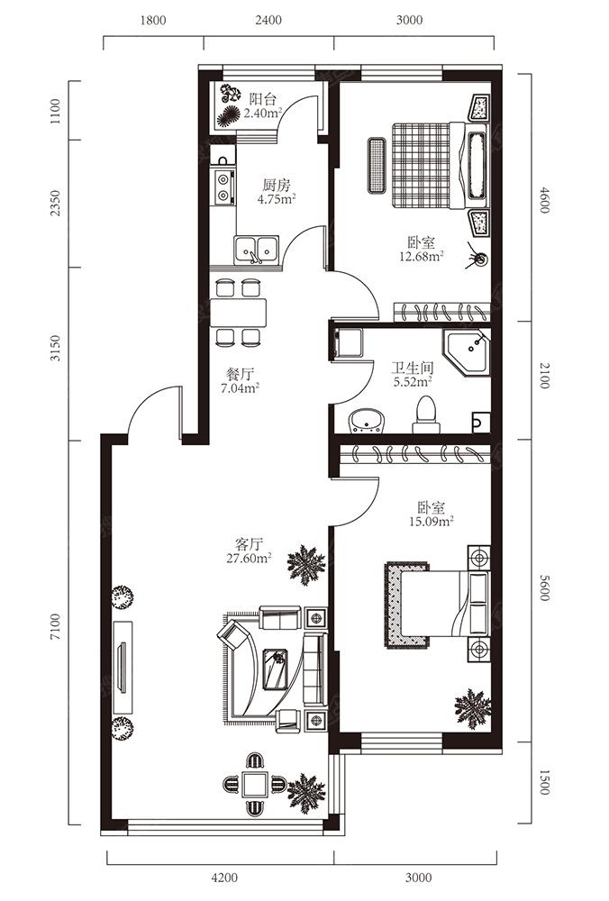 两室一厅户型平面图