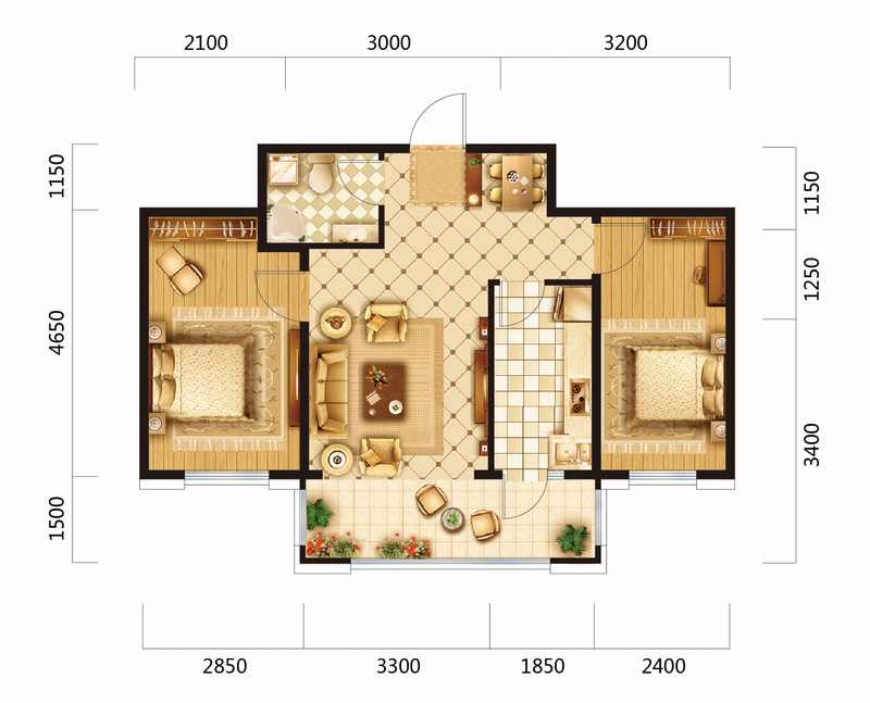 保利观澜二期二居室A1 A3 A5 A6 A7号楼D户型 保利观澜二期户型图