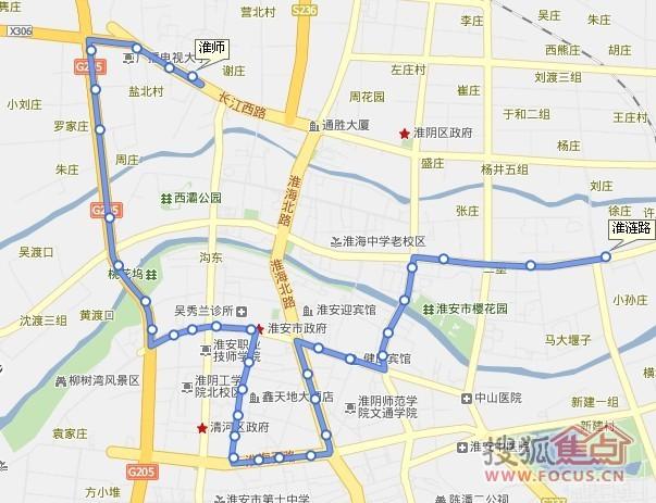 路图 36路,起点淮师,终点淮涟路,可以到桃花坞或富丽花园东门下高清图片