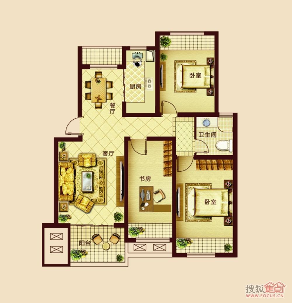 中央华府b 三室两厅一卫95㎡户型