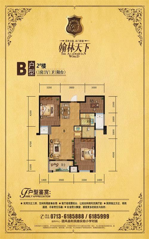 翰林天下户型图-3室2厅1卫图片