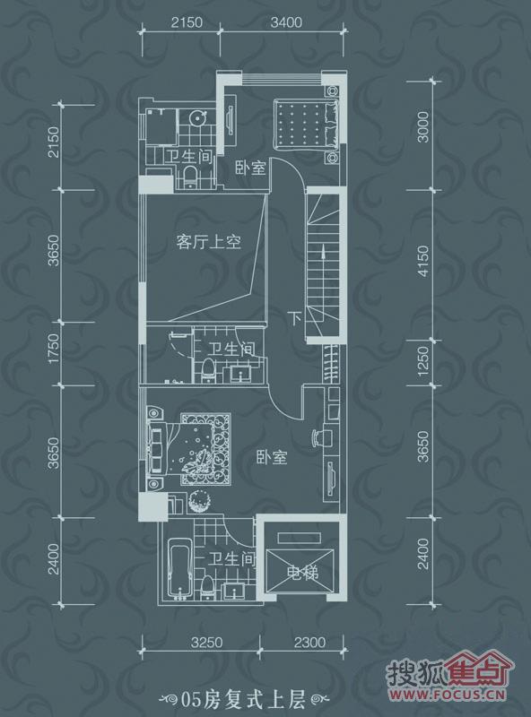 雅居乐白鹭湖 贝悦湾1-2栋05-06型2房2厅4卫136㎡复式上层户型