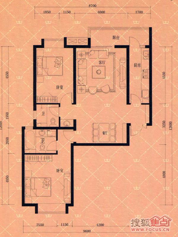 蓝天豪庭 2室2厅2卫1厨户型