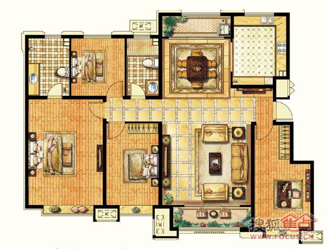 e1户型四室两厅两卫建筑面积约160m2