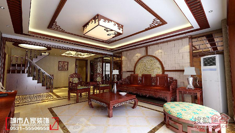 客厅具有内蕴的风格,厅里随处可见中式花格,不管是吊顶还是背影墙隔断图片