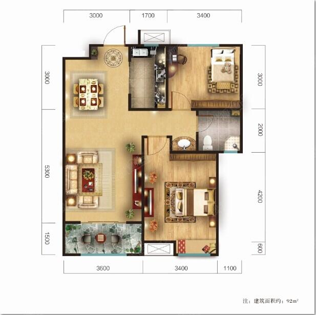 92平 两室两厅一卫