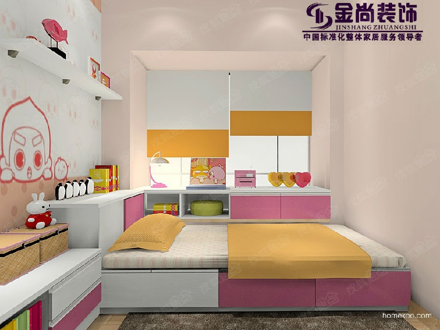 儿童房榻榻米装修效果图:   榻榻米床的摆放让房间的整体视高清图片