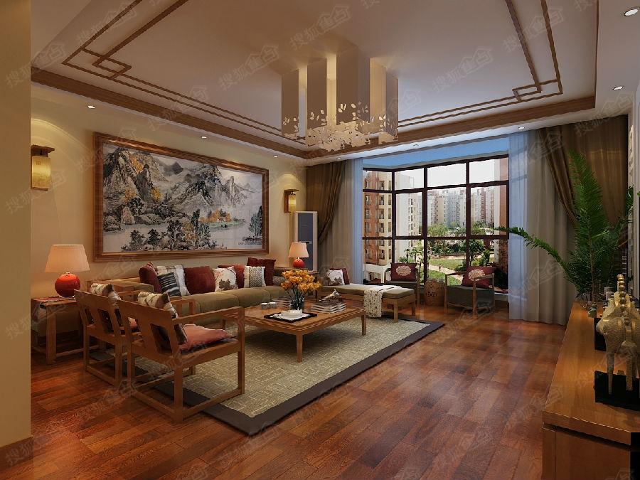 木质的顶角线搭配整个客厅的效果整个空间是整个空间更协高清图片