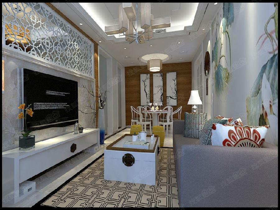 融创财富中心100平方新中式风格装修效果图|装修样板间鉴赏图片
