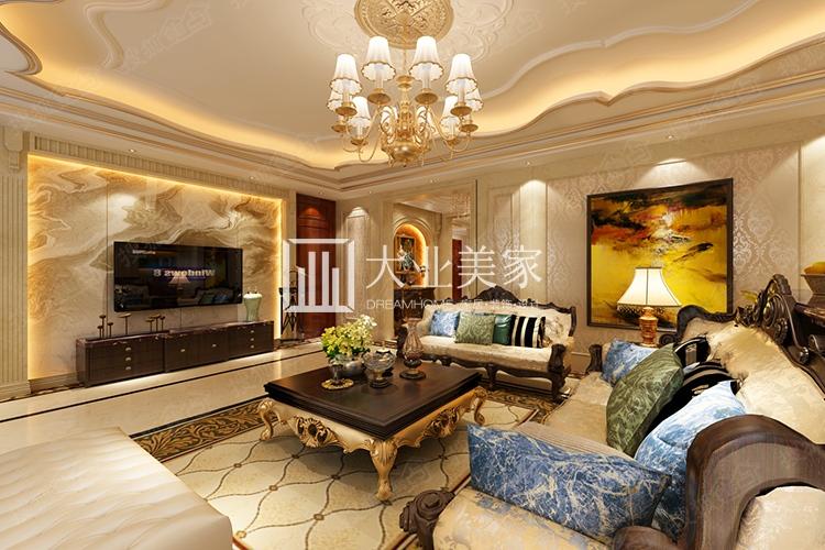 佛山静院206平古典欧式风格装修效果图-大业美家装饰