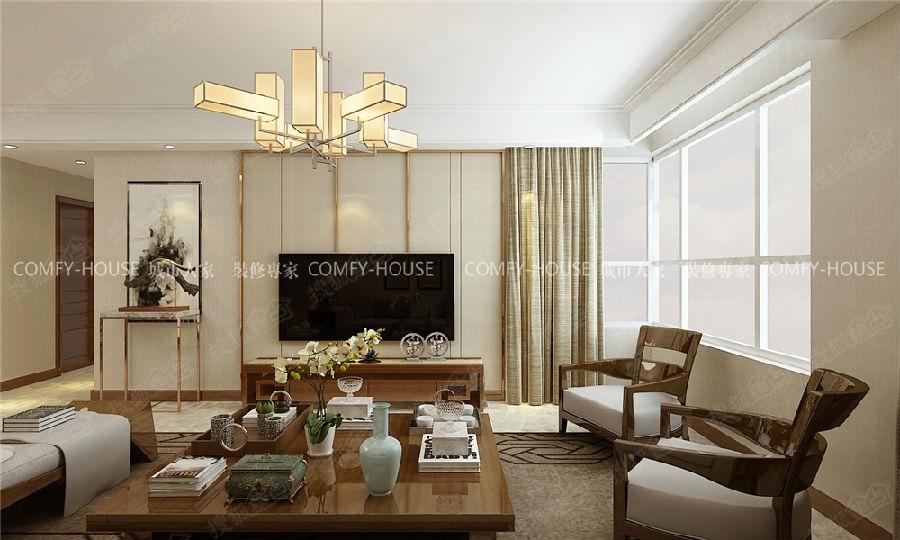 设计说明:整体风格定义为新中式风格,影视墙的设计采用极简的金属图片