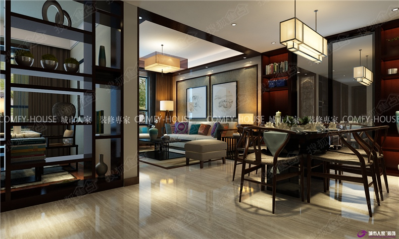 财富中心110平新中式风格装修效果图图片