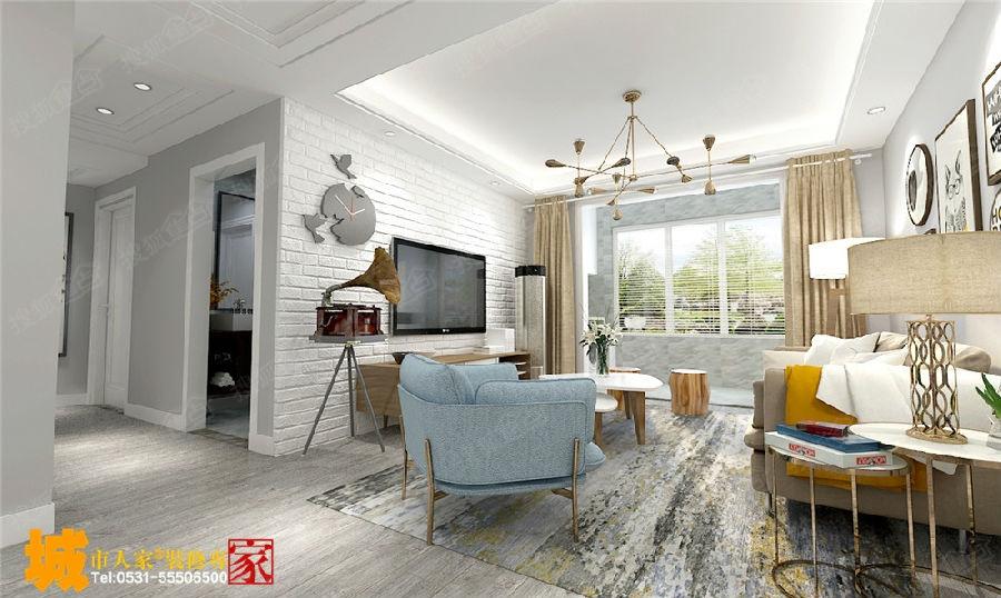 效果图     设计理念:整体的设计风格定位在北欧风格,客厅的影视墙图片