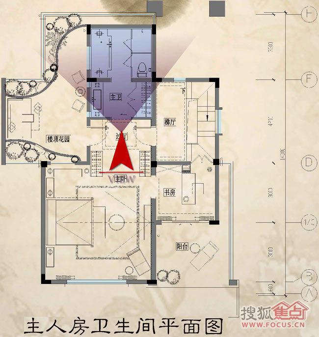 图片:9栋v2b别墅1211户型房卫生间平面图主人京山碧桂园图片别墅图片