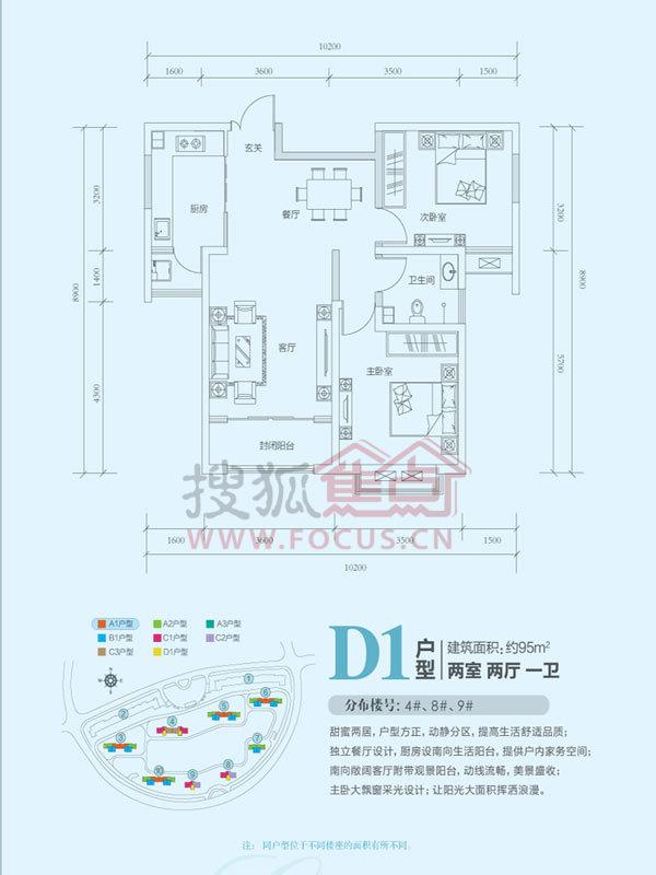 济南鲁能领秀城户型图 中央公园三区9 楼约95㎡两室两厅一卫D1户型