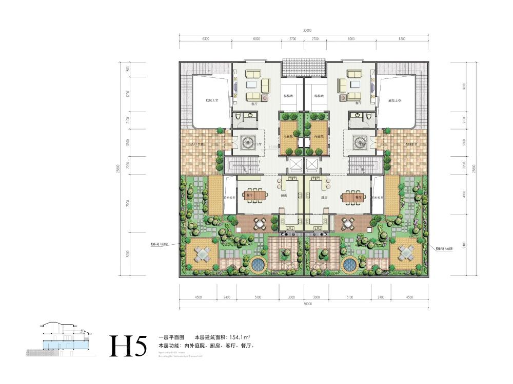 高尔夫 玉龙湾一期四房三厅五卫508㎡h5双拼户型一层平面图 高清图片