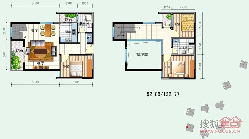 经典双城3室2厅2卫1厨2阳台128.08平米c2—2跃层户型户型