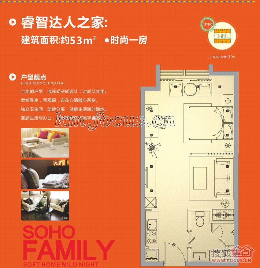 图:红星国际即将开盘的53平米精装公寓户型图