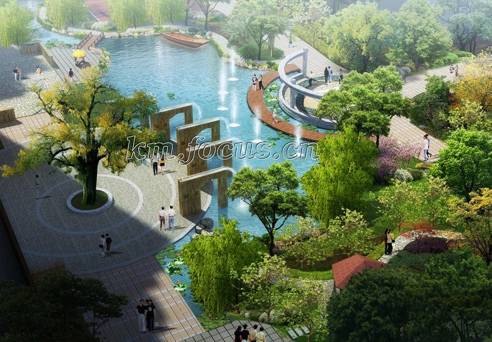 荷花蒂斯小区景观设计图——透视效果图
