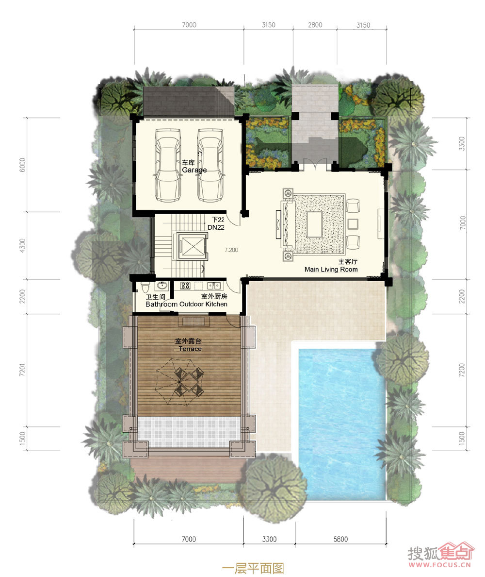 3厅2厨6卫2多功能厅建面593㎡一层平面图I户型户型图片