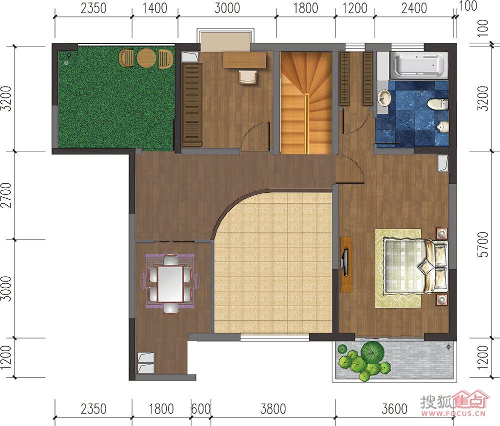 120平方2厅4房设计图