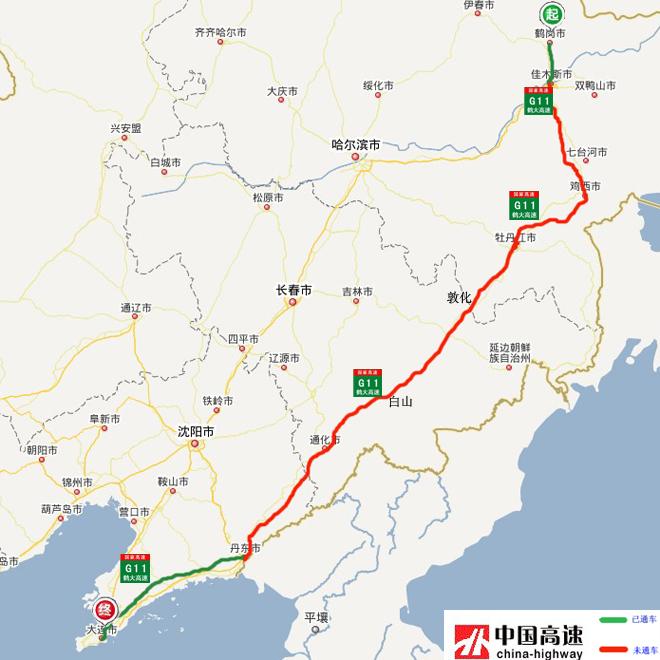 鹤大高速公路地图