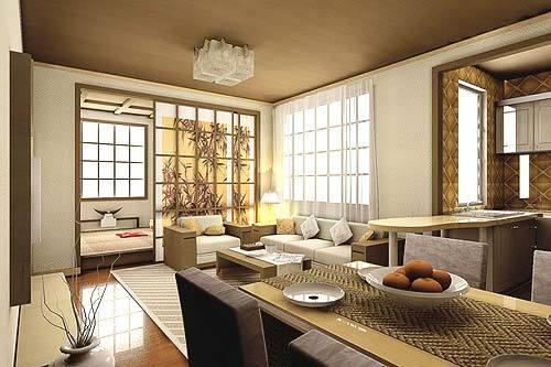 日本的家居装修有浓郁的日式民族吊顶回光槽效果图图片
