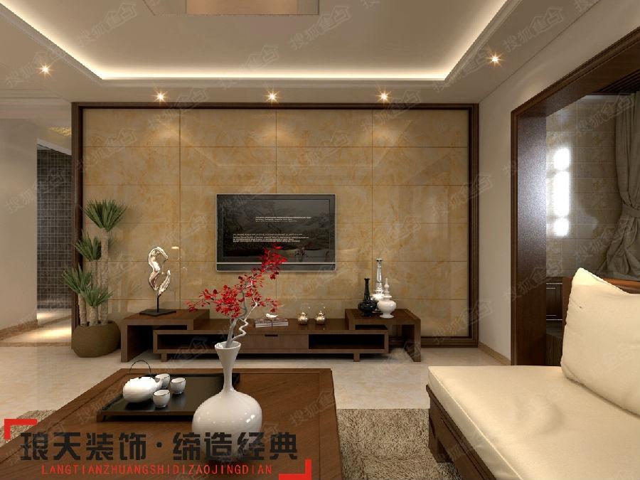 新中式风格装修效果图--电视背景墙