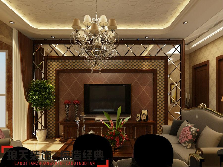 英式风格装修效果图--电视背景墙高清图片