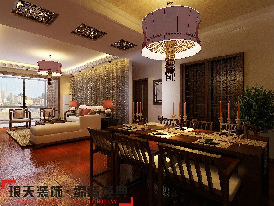 新中式风格装修效果图--客厅-东方今典165㎡ 新中式风格高清图片