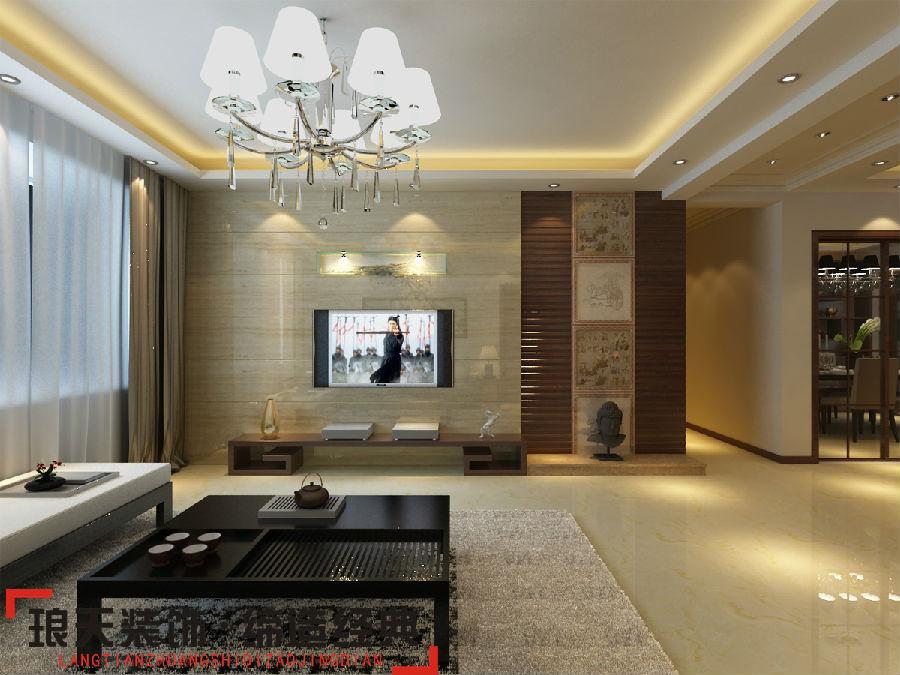 新中式风格装修效果图--电视背景墙高清图片