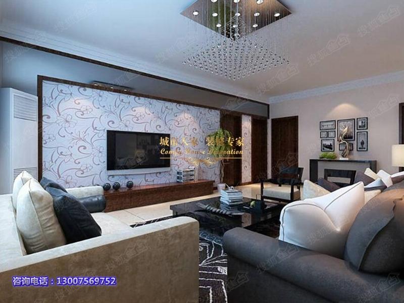 经典三居室装修案例,顺河湾130平现代简约风格温馨展示 高清图片