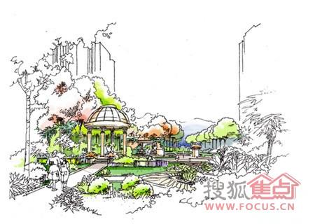 园林景观中亭子的手绘图