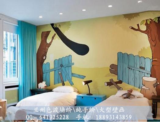兰州色渡手绘工作室墙绘壁画手绘墙幼儿园彩绘装修