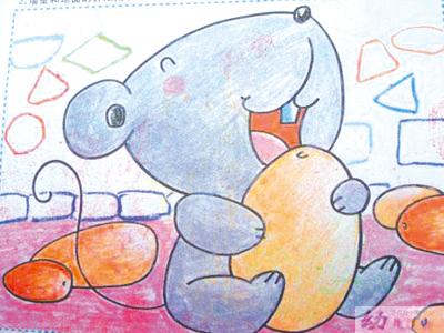 儿童画展赏析-老鼠爱大米