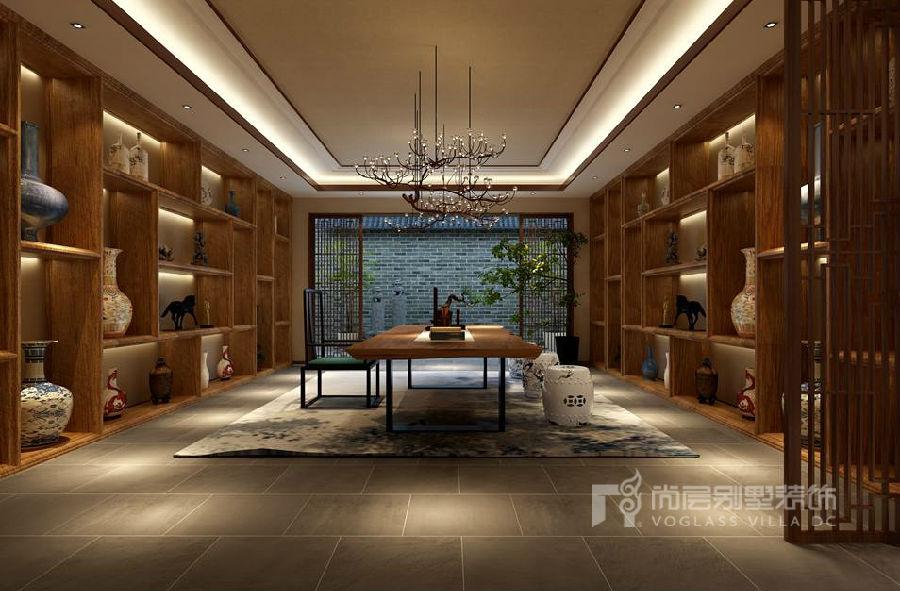 欧式别墅整面墙展示柜效果图