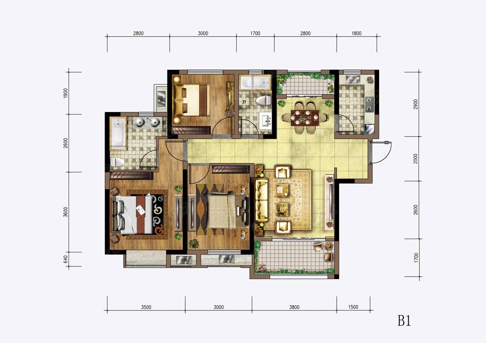 大主卧套房平面设计图