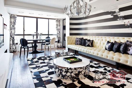 黑白渐染地毯让房间更添大气