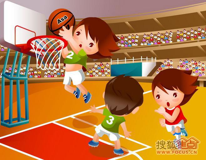 女生投篮手绘图