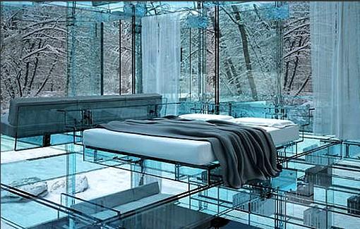 建筑师设计全透明玻璃房 屋内场景一览无余