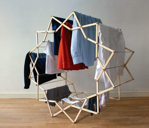 设计师 aaron dunkerten 打造的折叠式晾衣架,由几十条木板组成并图片