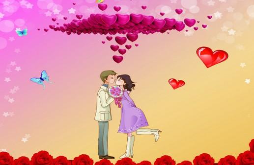 情侣对视卡通图片