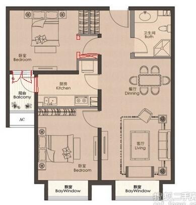 70平米简约日式两室一厅