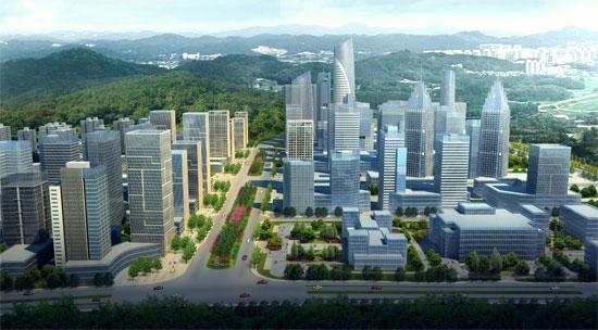 五象新区总部基地中央景观大道鸟瞰图(图片来源:南宁规划信息港)