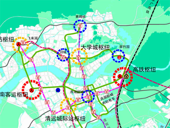职教基地,燕湖新城和长隆旅游度假区,远景预留至广州通道;而地铁2号线