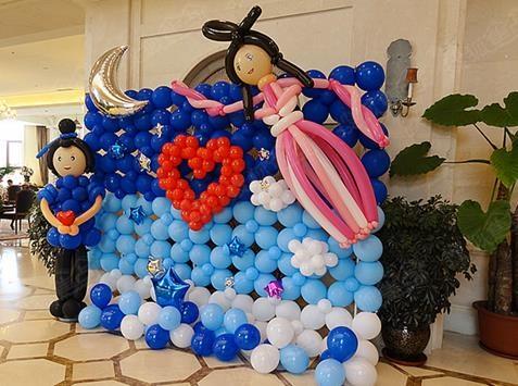 牛郎织女主题造型气球背景墙